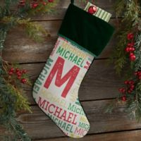 Repeating Name Personalized Christmas Stocking in Green