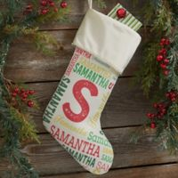 Repeating Name Personalized Christmas Stocking in Ivory