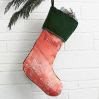 Coastal Home Personalized Christmas Stocking in Green