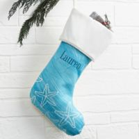 Coastal Home Personalized Christmas Stocking in Ivory