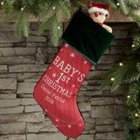 Baby's First Christmas Personalized Christmas Stocking in Green