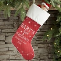 Baby's First Christmas Personalized Christmas Stocking in Ivory
