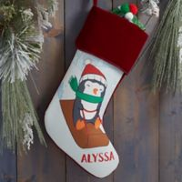 Whimsical Winter Characters Personalized Christmas Stocking in Burgundy