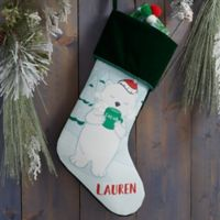 Whimsical Winter Characters Personalized Christmas Stocking in Green