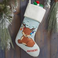Whimsical Winter Characters Personalized Christmas Stocking in Ivory