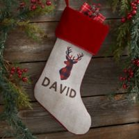 Cozy Cabin Buffalo Check Personalized Christmas Stocking in Burgundy
