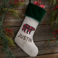 Cozy Cabin Buffalo Check Personalized Christmas Stocking in Green