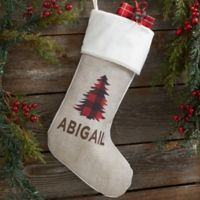 Cozy Cabin Buffalo Check Personalized Christmas Stocking in Ivory