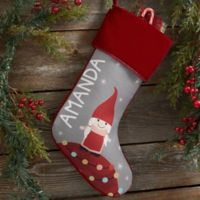 Gnome Family Personalized Christmas Stocking in Burgundy