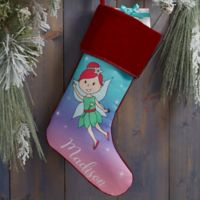 Fairy Personalized Christmas Stocking in Burgundy