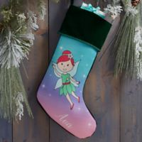 Fairy Personalized Christmas Stocking in Green