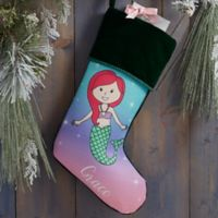 Mermaid Personalized Christmas Stocking in Green