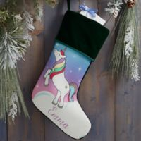 Unicorn Personalized Christmas Stocking in Green