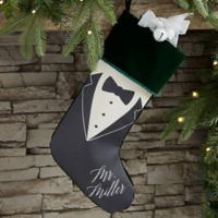 Bride & Groom Personalized Christmas Stocking in Green