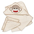 Baby Starters® Sock Monkey Towel & Washcloth Set in Cream