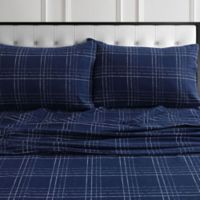 Tribeca Living Oxford Plaid Flannel Standard Pillowcases in Navy (Set of 2)