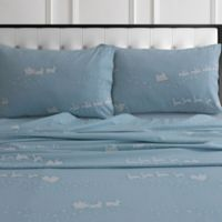 Tribeca Living Santa's Sleigh Flannel King Pillowcases in Blue (Set of 2)