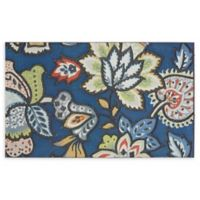 "Mohawk Home® Jacobean Mandy 18"" x 30"" Rubber Door Mat in Blue"