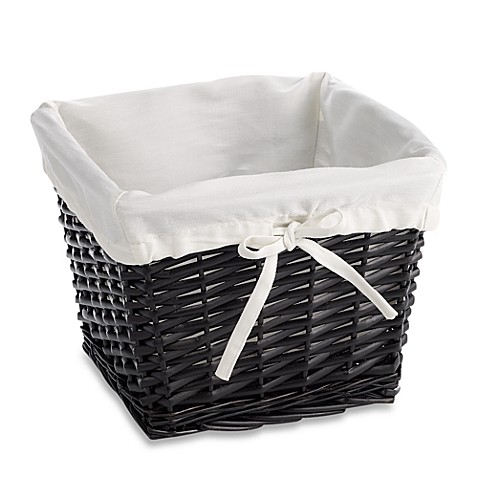 Redmon Collection Small Willow Basket Gingham Liner in White