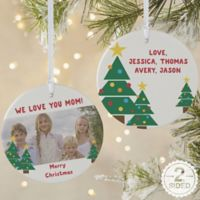 2-Sided Matte Holiday Hugs & Kisses Personalize Ornament- Large