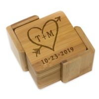Stamp Out Square Rustic Heart & Initial Coasters (Set of 6)
