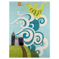 Momeni Fairytale Dragon 2' x 3' Hand-Tufted Accent Rug in Sky