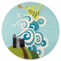 Momeni Fairytale Dragon 5' Round Hand-Tufted Area Rug in Sky