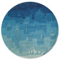 Momeni Urban Landscape 5' Round Hand-Tufted Area Rug in Blue