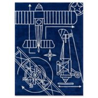 Momeni Blueprint 3' x 5' Hand-Tufted Area Rug in Navy