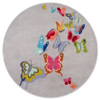 Momeni Butterfly Flutter 5' Round Area Rug in Grey