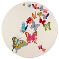 Momeni Butterfly Flutter 5' Round Area Rug in Ivory
