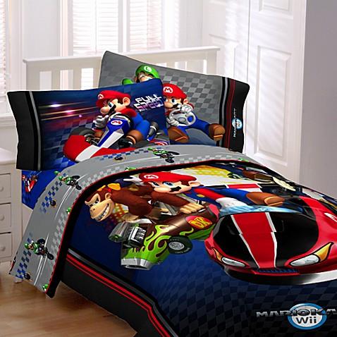 super mario brothers mario kart wii twin comforter set