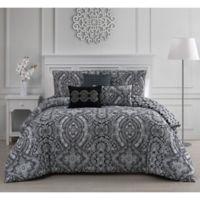 Kari 6-Piece Reversible Full/Queen Comforter Set in Black/White