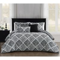 Luella 6-Piece Reversible King Comforter Set in Black/White