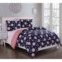 Britt 5-Piece Reversible Twin Comforter Set in Navy/Coral