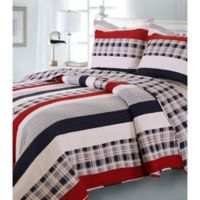 Nautical Stripe Reversible Twin Quilt Set in Blue