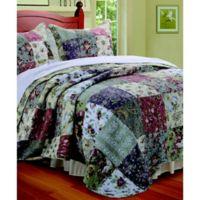 Blooming Prairie Reversible King Quilt Set in Sage