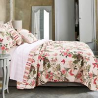 Butterflies Reversible Twin Quilt Set in Off White