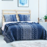 Embry Reversible King Quilt Set in Indigo