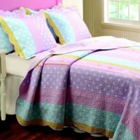 Polka Dot Stripe Twin Quilt Set in White