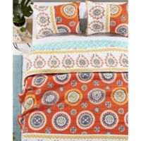 Rozario Reversible King Quilt Set in Tangerine