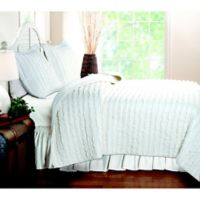 3-Piece King Ruffled Quilt Set in White