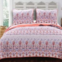 Amber Reversible King Quilt Set in White