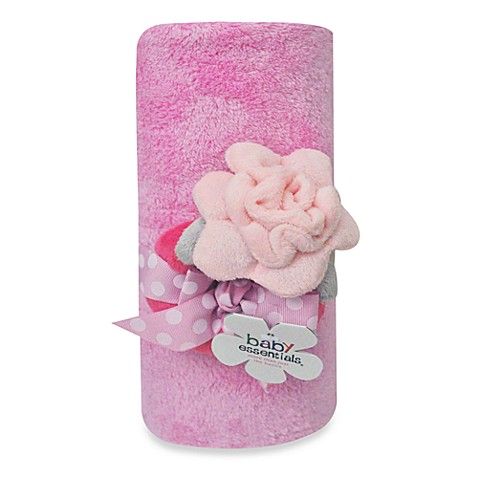 AD Sutton Blanket w/Flower Rattle - Pink
