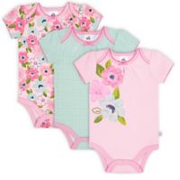 Just Born® Size 3-6M 3-Pack Blossom Short Sleeve Bodysuits in Pink/Blue