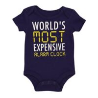 """Baby Starters® Size 9M BWA """"World's Most Expensive Alarm Clock"""" Bodysuit in Navy"""