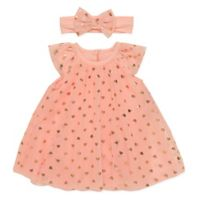 Baby Starters® Newborn 2-Piece Heart Dress and Headband Set in Coral
