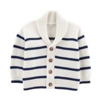 OshKosh B'gosh® Size 12M Striped Shawl Collar Cardigan in White