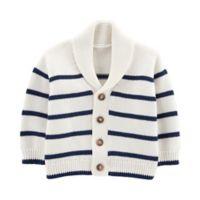 OshKosh B'gosh® Size 24M Striped Shawl Collar Cardigan in White