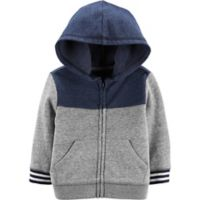 OshKosh B'gosh® Size 12M Colorblock Hoodie in Grey/Navy